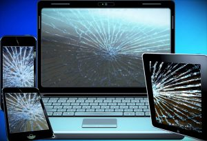 electronic scrap, mobile phone, laptop